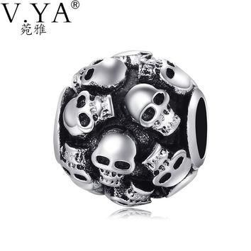 New Fashion DIY Accessories High Quality Big Hole Skull Bead fit for Pandora Vintage S