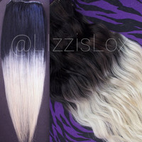 """Gorgeous Clip In REMY Human Hair Extensions 20"""" Black to Blonde Ombre Dip Dye Balayage 100-180g DIY Satisfaction Guarantee!"""