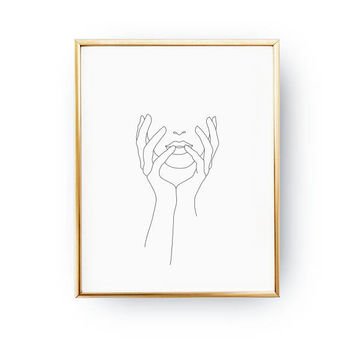 Covered Face Print, Single Line, Minimalist Face Print, Minimal Art, Simple Fashion, Woman Art, Female Body, Black And White,Sketch Wall Art