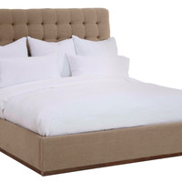 Pomona Tufted Linen Bed, Flax, Panel Beds