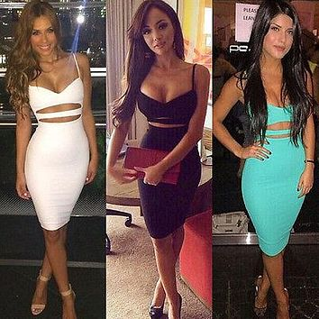 Women Vestidos Sleeveless  Midi Pencil Bandage Party Dresses