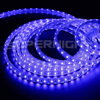 SUPERNIGHT 10Ft/3m 3528SMD AC 110V High Voltage One Step Easy Plug in Led Flat Rope Lights Kitchen Cabinet Led Strip Lights Christmas Lighting Outdoor Rope Lighting-Blue