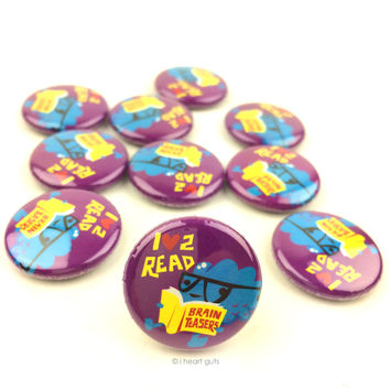 *NEW* - Love 2 Read Brain Buttons - Set of 10