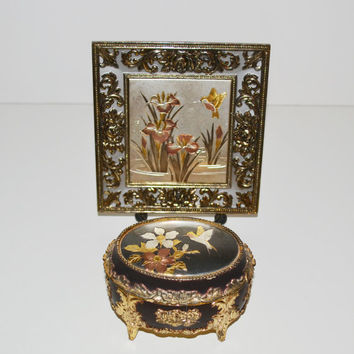 Vintage Jewelry Box and Musical Plate Japanese Chokin Art Collectibles Hummingbird Chokin Design