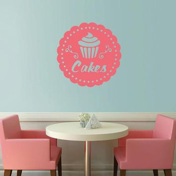 ik2066 Wall Decal Sticker Cupcakes baked food bakery cafe