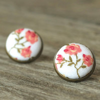 #Stud #Earrings #Flowers #Pink #Beige #Fabric #Buttons #Romantic #Jewelry