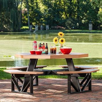 LuxCraft Recycled Plastic Octagon Picnic Table