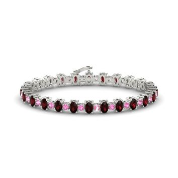 14K White Gold Bracelet with Red Garnet & Pink Tourmaline
