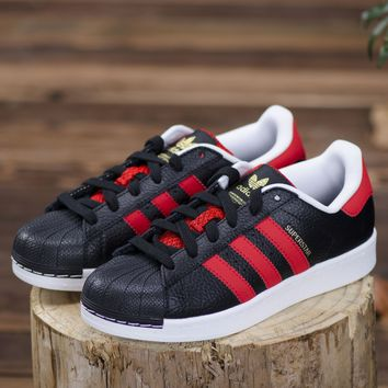Adidas Superstar Black / Red Shoes  B27489 Sneaker