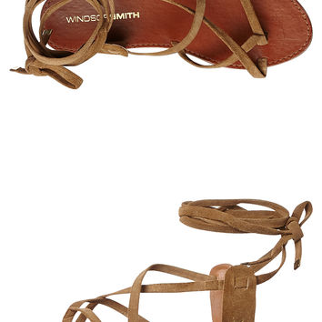 WINDSOR SMITH BIZZ LEATHER WOMENS SANDAL - TAN SUEDE
