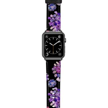 Casetify Saffiano Purple Flowers Faux Leather Apple Watch Strap | Nordstrom