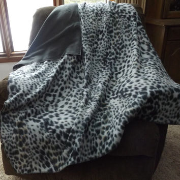 Cheetah Print Double Layer Fleece Blanket or Throw, 2 Layer, Lap Blanket, Stadium Blanket