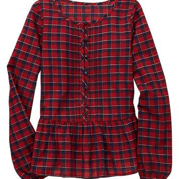Gap Girls Factory Plaid Peplum Top