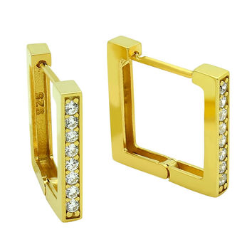 .925 Sterling Silver Nickel Free Gold Plated 17mm Square Huggie Earrings With 1.75mm Cubic Zirconia Pave