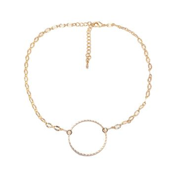 Simple Twisted Circle Choker Necklace