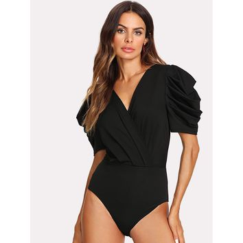 Solid Puff Sleeve Wrap Bodysuit Black