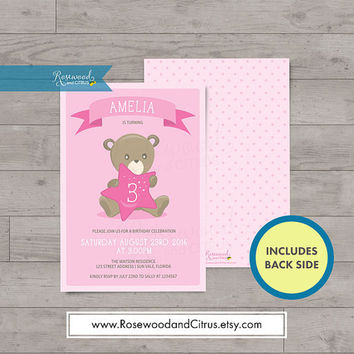 Pink Birthday Invitation for Girls, Pink Bear, Birthday Invitation Girl, Baby Birthday Party, Birthday Printable, First Birthday or any age