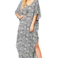Puckered Paisley Maxi Dress