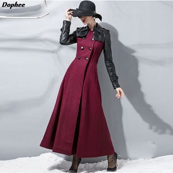 2017 Winter New PU Leather Stitching Wool Coat Women Slim Double-Breasted Woolen Long Coat Windbreaker