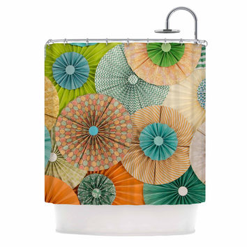 "Heidi Jennings ""Summer Party"" Teal Orange Shower Curtain"