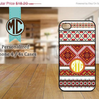 ON SALE iPhone 4 Case - iPhone case - Monogram iPhone case - iPhone 4s case - Christmas iPhone cover - MC072