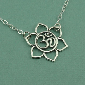Small  Om Lotus Necklace - sterling silver om pendant - yoga jewelry - lotus flower jewelry - handmade