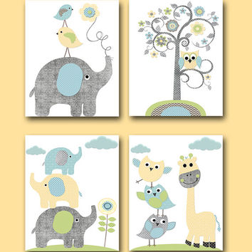 Childrens Art Kids Wall Art Baby Room Decor Neutral Nursery Decor Kids Art Baby Nursery Print Elephant Nursery Giraffe Nursery set of 4 /