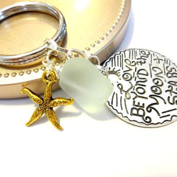 Mint Green Sea Glass Keychain, Starfish Key Chain, Beach Theme Accessory, Wire Wrapped Beach Glass Key Ring, Cool Keychain, Inspiration Gift