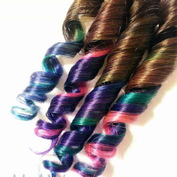 "12"" #2 Perky Peacock 100% human hair Clip-In Ombre extensions Purple Blue Aqua Pink Green JMV"