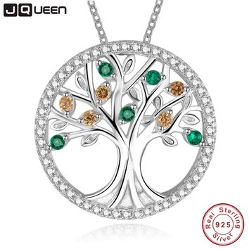 Tree Of Life 925 Sterling Silver Long Necklace for Women Vintage Morganite Gemstone Multilayer Pendant Necklace Female Jewelry