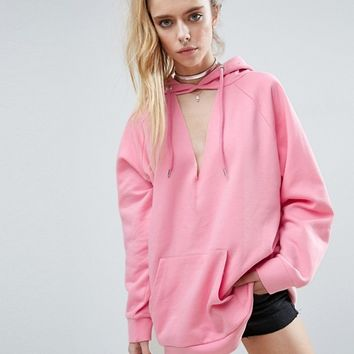 ASOS Oversized Hoodie With Cut Out Front at asos.com