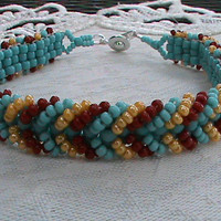 Turquoise red and yellow chevron seed bead bracelet