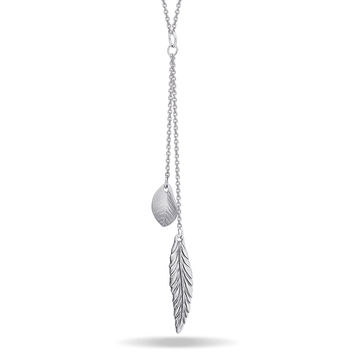 Feather and Leaf Necklace, Silver Plated Double Necklace, Layered Necklace