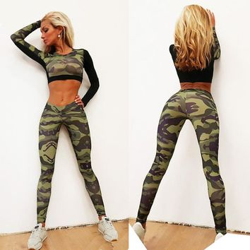New GYM Fitness Tight Women Tracksuit Camouflage Stiching Sweatshirt Sets Yoga Sets Sport Wear Suit Workout Clothing Dropship