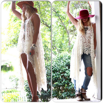 Gypsy Tunic Dress, Bohemian Magnolia lace Pearl tunic, Boho dresses Stevie Nicks Style, Vagabond wanderer, Romantic, True Rebel clothing Sm