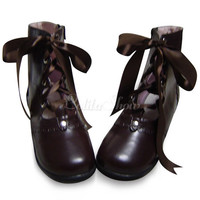 [$68.99] Black PU Chunky Flat Heel Front Lace Up Lolita Ankle Boots