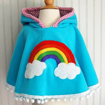 Rainbow Poncho Cape in Aqua with Pink Heart Hood by thetrendytot