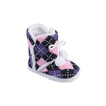 Girls' Pom Pom Slipper Boots, Medium 1-2, Pink/Purple Argyle Journee Collection
