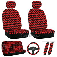 Chevron Red Black Seat Cover 11 Pc Set