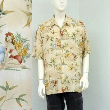 Vintage 90s Tan Rayon Hawaiian Shirt,  Pinup Girl Novelty Print Shirt, Floral Shirt, Aloha Shirt, Summer Shirt, Resort Wear, Size XL