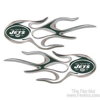 New York Jets NY 2-pack Micro Flames Auto Decal Emblem Sticker NFL Football