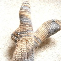 Softee Chunky Socks Ladies Size 7 to 8 Shadow Caramel Charcoal | SlicKnits - Knitting on ArtFire