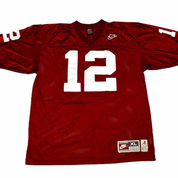 Throwback NIKE 1965 Alabama Crimson Tide #12 Ken Stabler Football Jersey Mens Size XL