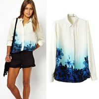 White Faded Floral Print Cuff Sleeve Chiffon Blouse