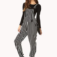 FOREVER 21 Rad Striped Overalls Black/Cream