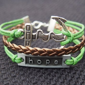 Hope & Anchor Charm Bracelet in Silver-Green Wax Cords Copper Gold Imitation Leather Braided Bracelet-Charm Personalized Friendship Jewelry
