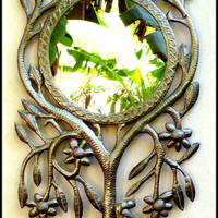 "Metal Mirror Wall Hanging - Tree Design - Handcrafted Haitian Metal Art - 19"" x 35"""