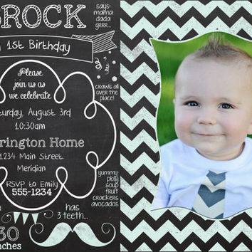 Chalkboard Theme Birthday Party Invitation for boy- Premade - 4x6 - Chevron - Mustache - Baby likes
