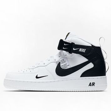 Nike Air Force 1 Tide brand high men and women casual wild sports shoes White