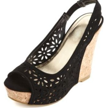Floral Laser-Cut Peep Toe Wedges by Charlotte Russe - Black